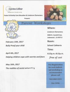 Cerritos College Parent Workshops