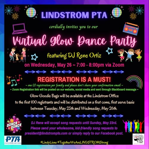 Virtual Glow Dance Party on Wednesday / May 26, 2021 from 7:00-8:00pm via Zoom